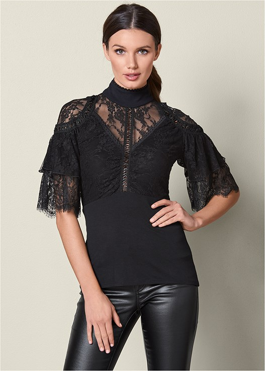 LACE DETAIL MOCK NECK TOP,FAUX LEATHER PANTS,TIE BACK BOOTS