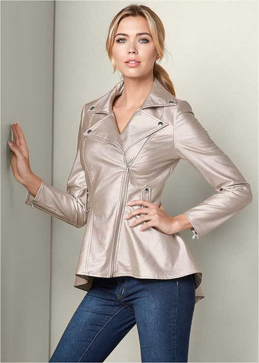 PEPLUM MOTO JACKET,COLOR SKINNY JEANS