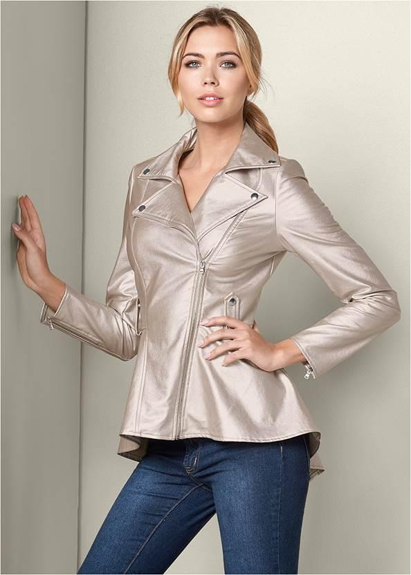 Peplum Moto Jacket,Mid Rise Color Skinny Jeans