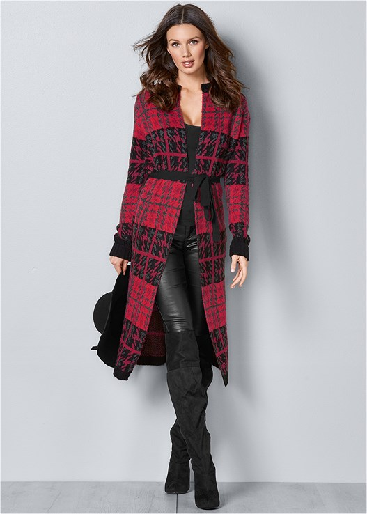 PLAID DUSTER,SEAMLESS CAMI,FAUX LEATHER PANTS,PERFORATED BOOTS,OVER THE KNEE BOOTS