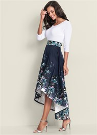 Front View High Low Floral Dress