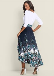 Back View High Low Floral Dress
