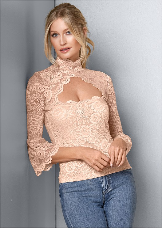 LACE MOCK NECK TOP,COLOR SKINNY JEANS