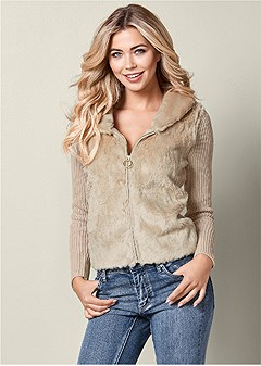 faux fur zip cardigan