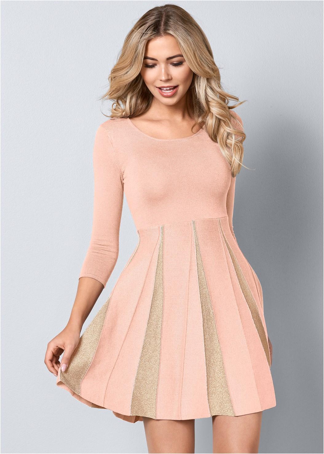 Glitter Sweater Dress,High Heel Strappy Sandals