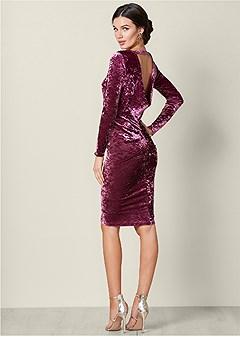 drape back velvet dress