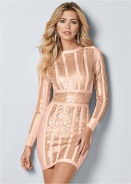Front View Bandage Sequin Dress
