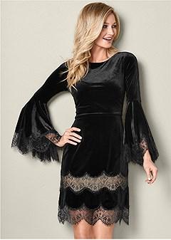 lace detail velvet dress