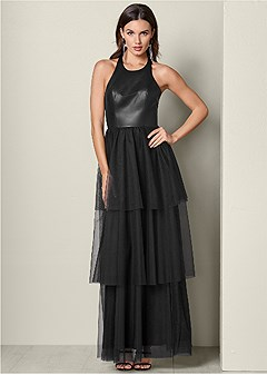 faux leather tulle dress