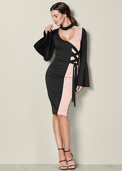 Lace Up Detail Dress