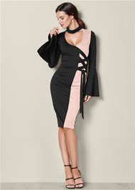 Front View Lace Up Detail Dress