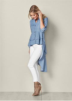 high low chambray top