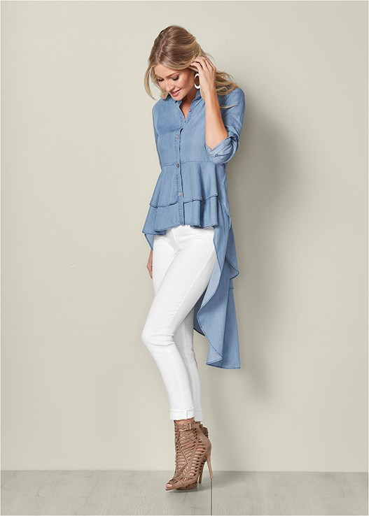 HIGH LOW CHAMBRAY TOP,COLOR SKINNY JEANS