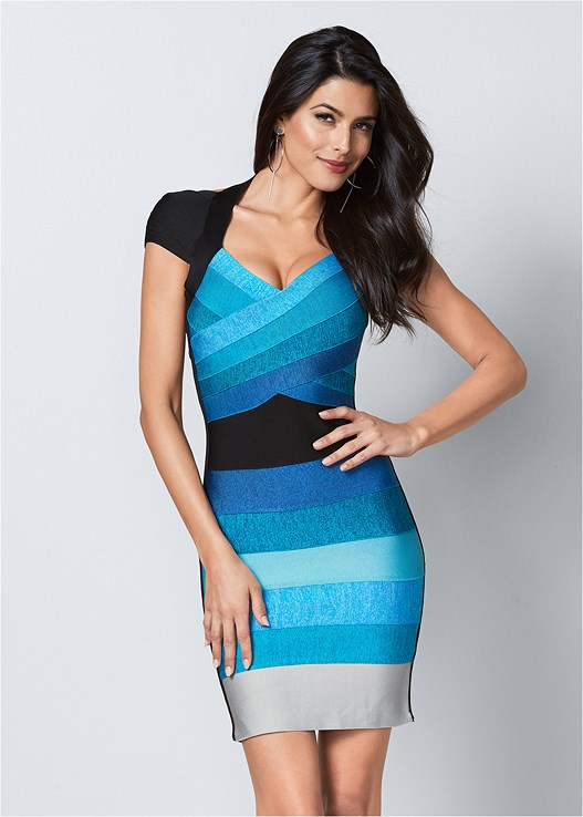 BANDAGE COLOR BLOCK DRESS,HIGH HEEL STRAPPY SANDALS,HOOP DETAIL EARRINGS
