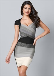 Front View Bandage Color Block Dress