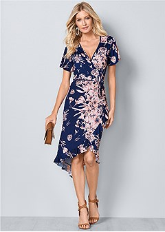 9f5e87025bc floral print wrap dress