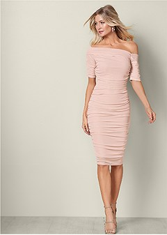 3a38fc1da7 ruched mesh bodycon dress