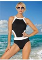 Front View High Neck Cut Out One-Piece