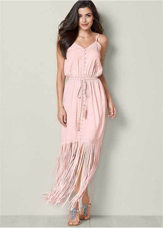 FRINGE DETAIL MAXI DRESS,ETCHED METAL UPPER ARM BAND