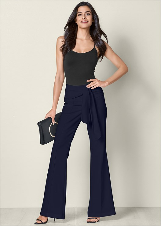 TIE FRONT PANTS,SEAMLESS CAMI,HIGH HEEL STRAPPY SANDALS,CIRCLE DETAIL CROSSBODY