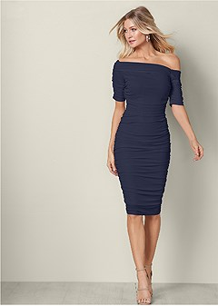 488e95620b3 ruched mesh bodycon dress