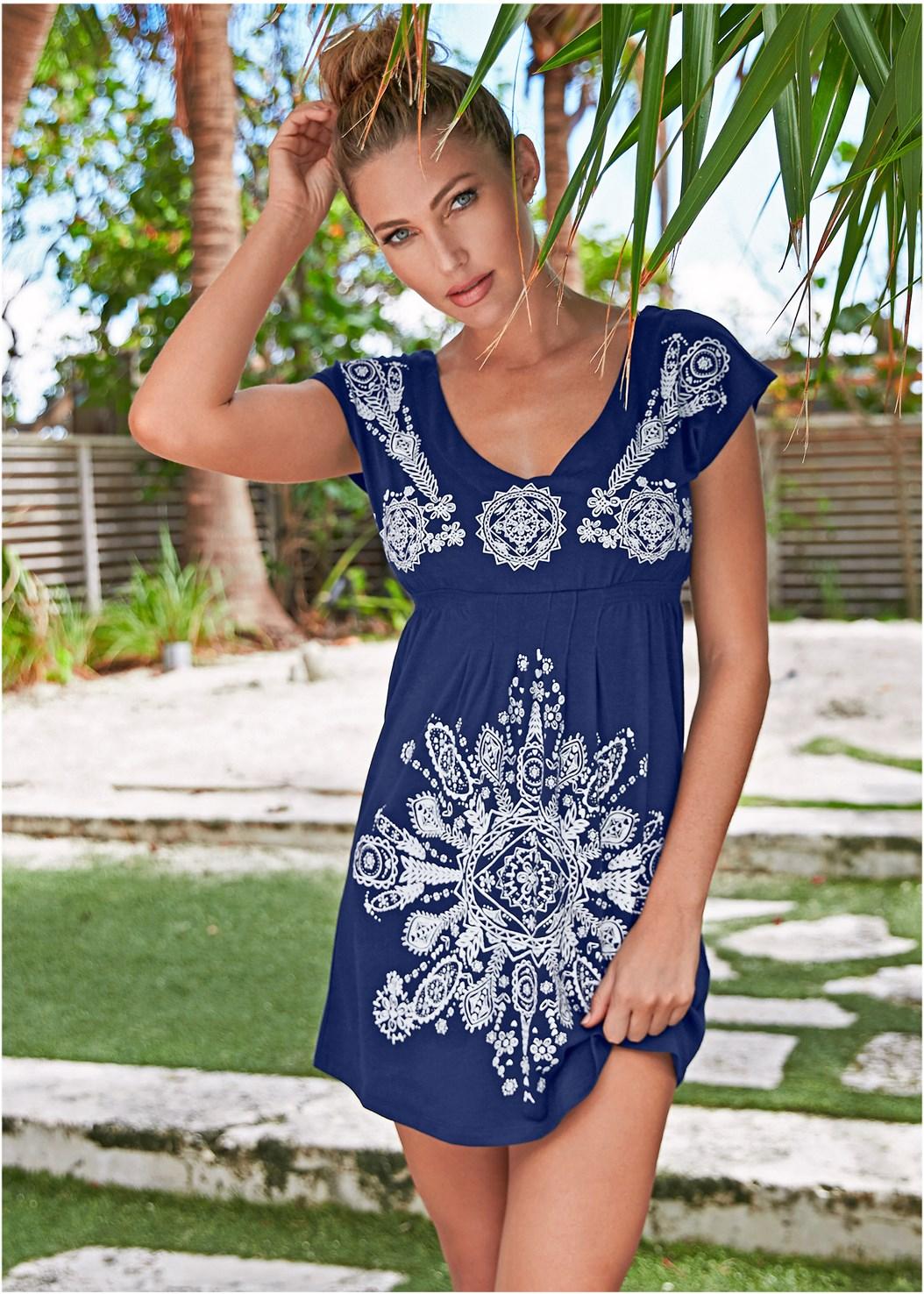 Print Dress,Woven Handbag