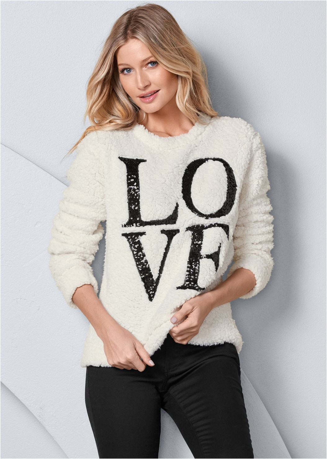 Love Cozy Sweatshirt,Mid Rise Color Skinny Jeans