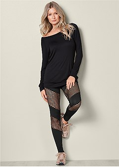 fishnet detail legging