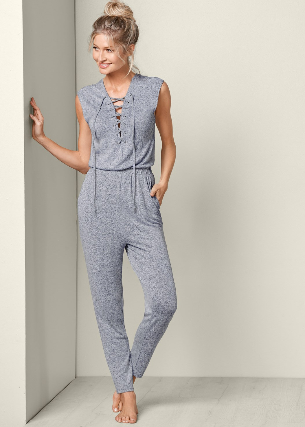 Lace Front Jumpsuit,Kissable Strappy Push Up