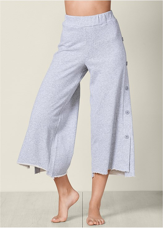 SIDE BUTTON WIDE LEG PANT,LONG AND LEAN TEE