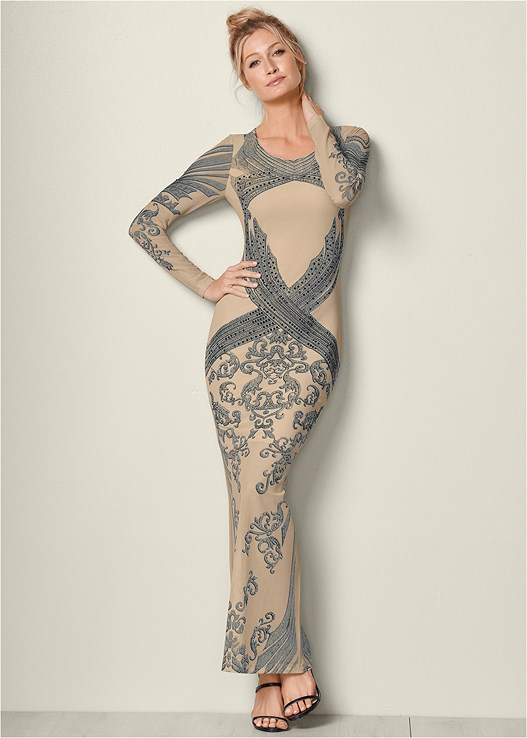 EMBELLISHED LONG DRESS,HIGH HEEL STRAPPY SANDAL,CONFIDENCE SEAMLESS DRESS