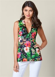 Front View Printed Lace Top