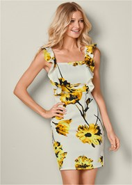 Front View Floral Print Ruffle Dress