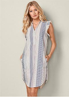ruffle sleeve stripe dress