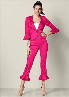 ruffle detail pant suit set