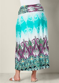 Back View Printed Maxi Skirt