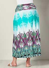 Back View Printed Maxi Skirt