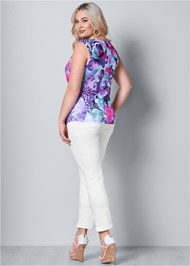 Back View Trim Detail Mixed Print Top