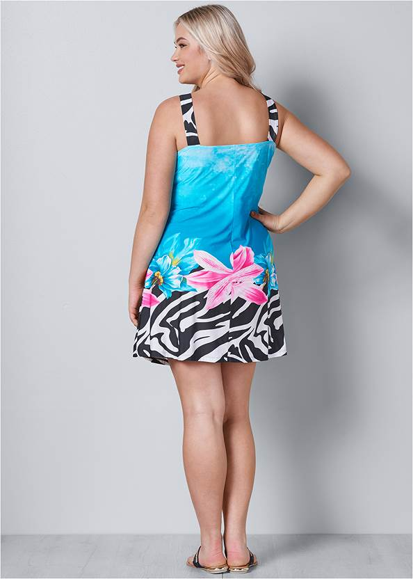 Back View Mixed Print Mini Dress