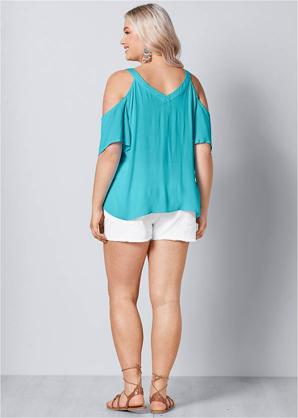 Back View Strappy Detail V-Neck Top