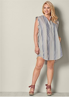plus size ruffle sleeve stripe dress