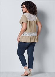 Back view Lace Inset V-Neck Top