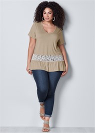 Front view Lace Inset V-Neck Top