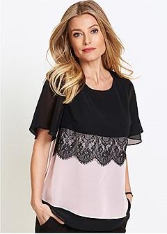 lace color block top