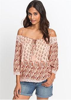 cold shoulder print top