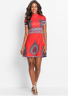 fit and flare print dress