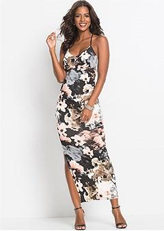 floral detail maxi dress