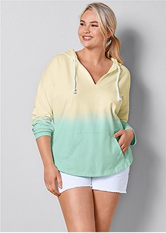 plus size ombre hooded sweatshirt