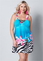 plus size mixed print mini dress