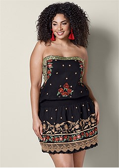plus size embroidered mini dress